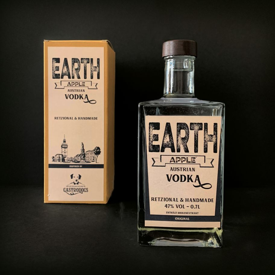 Earthapple Vodka Flasche & Verpackung