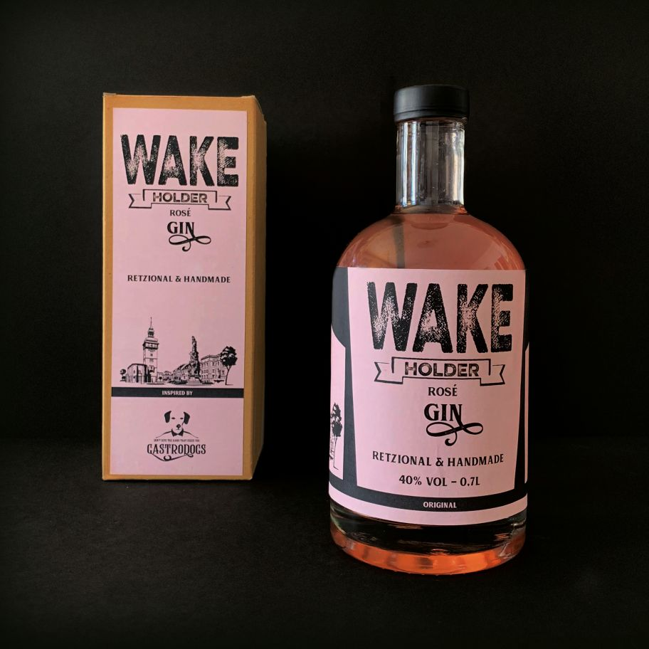 Wakeholder Rosé Gin Flasche & Verpackung